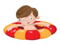 De jongen van de glimlachzwemmer Stock Foto's