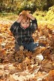 De jongen van de herfst Stock Foto