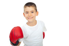 De jongen van de kampioen met bokshandschoen royalty-vrije stock foto