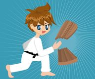 De Jongen van de Karate van het beeldverhaal royalty-vrije illustratie