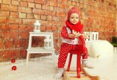 De jongen van de Kerstmisbaby royalty-vrije stock foto's