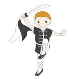 De jongen van de kungfu met zwaard royalty-vrije illustratie