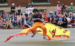 De Jongen van de kungfuparade royalty-vrije stock afbeelding