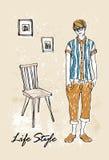 De jongen van de manier in schets-stijl Stock Afbeeldingen