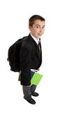 De jongen van de middelbare school met rugzakzak royalty-vrije stock fotografie