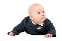 De jongen van de peuter in een kostuum Stock Afbeelding