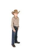 De jongen van de provincie in een cowboyhoed royalty-vrije stock foto's