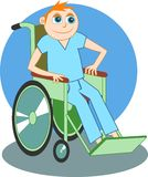 De jongen van de rolstoel Stock Foto's