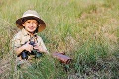 De jongen van de safari Stock Foto's