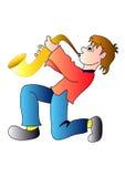De jongen van de saxofoon Stock Afbeeldingen