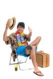 De jongen van de tiener, de lenteonderbreking Stock Foto