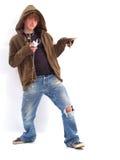 De Jongen van de tiener met MP3 Speler Royalty-vrije Stock Afbeeldingen