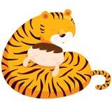 De jongen van de tijgeromhelzing Vector Illustratie