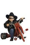 De jongen van de twee éénjarigenbaby op een trike Stock Fotografie