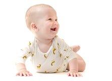 De jongen van de zuigelingsbaby glimlachen geïsoleerd op wit Royalty-vrije Stock Afbeeldingen
