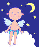 De jongen van engelen bij nacht onder de maan. Stock Fotografie