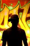 De Jongen van Graffiti in Schaduwen Royalty-vrije Stock Fotografie