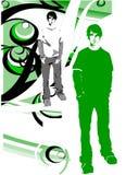 De Jongen van Grunge in een BloemenDecor Stock Afbeelding