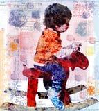 De jongen van Grunge op de herten Stock Foto's