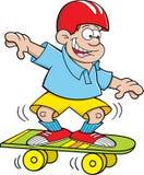 De jongen van het beeldverhaal het met een skateboard rijden Stock Foto