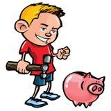 De jongen van het beeldverhaal met een spaarvarken Stock Afbeelding