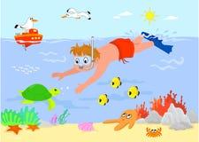De jongen van het beeldverhaal onderwater royalty-vrije illustratie