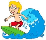 De jongen van het beeldverhaal surfer vector illustratie