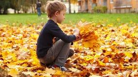 De jongen van het blondehaar verzamelt het gele boeket van de herfstbladeren stock videobeelden