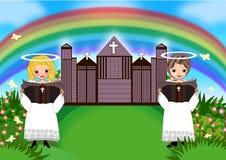 De jongen van het jonge geitjesmeisje in kerk vector illustratie