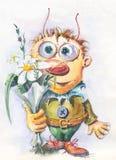 De Jongen van het karakter met bloemen Stock Fotografie