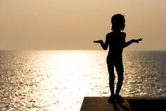 De jongen van het silhouet Stock Afbeeldingen