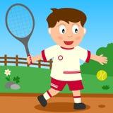 De Jongen van het tennis in het Park Stock Afbeelding