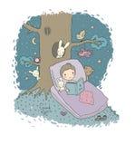 De jongen van de slaap Baby in bed met speelgoed Tijd aan slaap Goede nacht stock illustratie