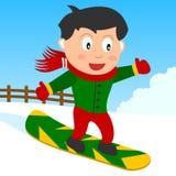 De Jongen van Snowboarding in het Park Stock Afbeelding