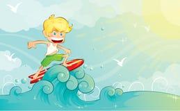 De jongen van Surfer royalty-vrije illustratie