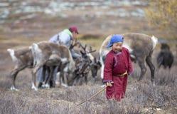 De jongen van de Tsaatannomade in noordelijk Mongolië royalty-vrije stock afbeelding
