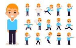 De jongen in Verschillend stelt en Geplaatste de Karakters de Pictogrammen van de Actiestiener isoleerden Vlak Ontwerp Vectorillu stock illustratie