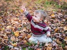 De jongen zit in Bladeren met zijn Hand die omhoog golven royalty-vrije stock foto