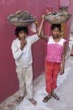 De Jongens die van Dalit Brandstof verzamelen royalty-vrije stock afbeeldingen