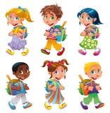 De jongens en de meisjes gaan naar school royalty-vrije illustratie