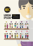 De jongens en de meisjes van ASEAN in traditioneel kostuum met vlakke vlag, Stock Afbeelding
