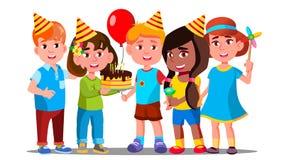 De jongens en de Meisjes vieren Verjaardag van Kindvector Geïsoleerdeo illustratie vector illustratie