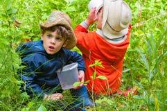 De jongens eten bessen in het hout Stock Afbeeldingen
