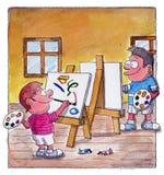 De jongens schilderen in de klasse Stock Afbeelding