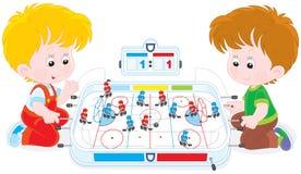 De jongens spelen lijsthockey royalty-vrije illustratie