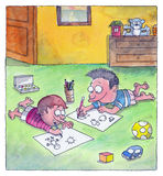 De jongens zijn tekeningen op de vloer Royalty-vrije Stock Afbeelding