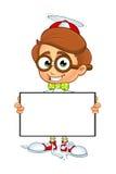 De Jongenskarakter van beeldverhaalnerd Stock Foto