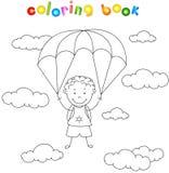 De jongensparachutist daalt van de hemel op een valscherm door vector illustratie
