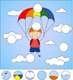De jongensparachutist daalt van de hemel op een valscherm door stock illustratie