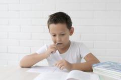 De jongensschooljongen onderwijst lessen die in notitieboekje schrijven en boeken lezen stock foto's
